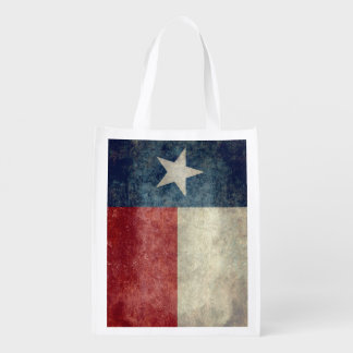 Texas state flag vintage Reusable Grocery Bags
