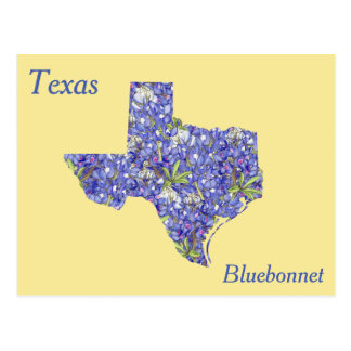 Texas State Flower Collage Map Postcard