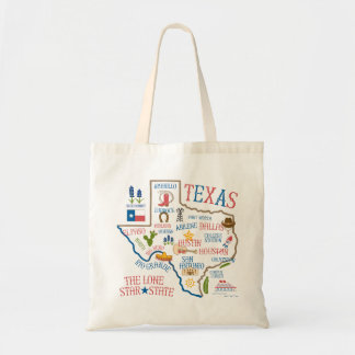 Texas State Landmarks Illustration Tote
