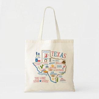 Texas State Landmarks Illustration Tote Budget Tote Bag