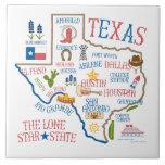 Texas State Landmarks Illustration Trivet Tile
