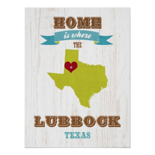 Texas State Map Art- Love Lubbock Art Posters