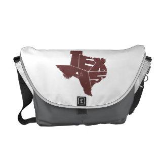 Texas State Map Burgundy Lettering Messenger Bag