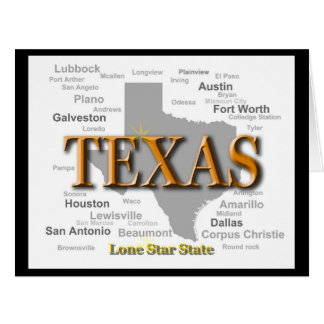 Texas State Map Card