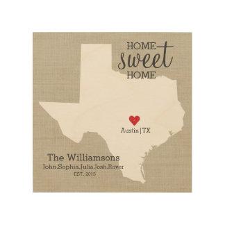 Texas State Map Custom Family Name Established Wood Wall Decor