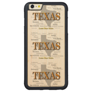Texas State Map, Dallas, Houston, Austin Carved® Maple iPhone 6 Plus Bumper Case