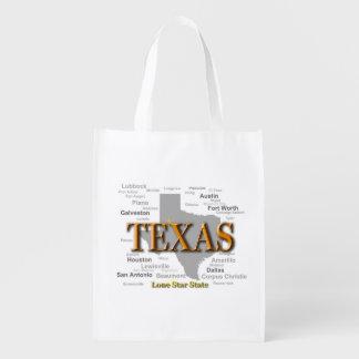 Texas State Map, Dallas, Houston, Austin Reusable Grocery Bags