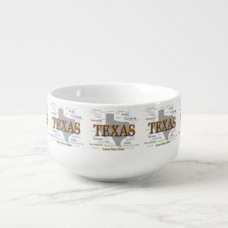 Texas State Map, Dallas, Houston, Austin Soup Mug