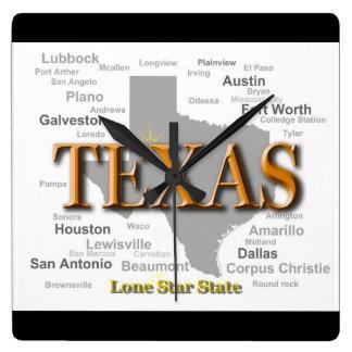 Texas State Map, Dallas, Houston, Austin Square Wall Clock