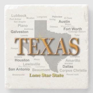 Texas State Map, Dallas, Houston, Austin Stone Coaster