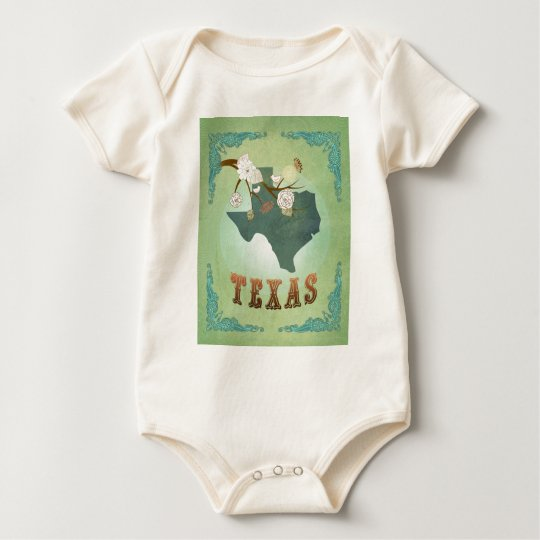 Texas State Map – Green Baby Bodysuit