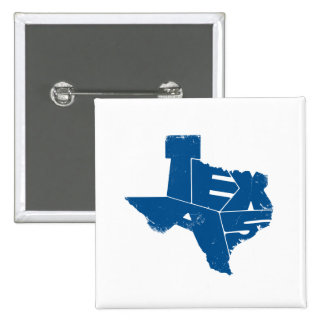 Texas State Map SnorkelBlue Lettering Square Badge Pinback Button