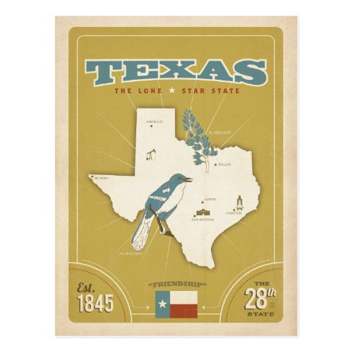 Texas State Map  The Lone Star State Postcard