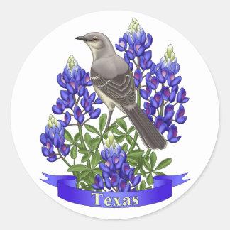 Texas State Mockingbird & Bluebonnet Flower Classic Round Sticker