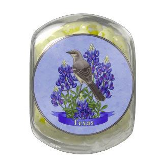 Texas State Mockingbird & Bluebonnet Flower Jelly Belly Candy Jar