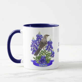 Texas State Mockingbird & Bluebonnet Flower Mug