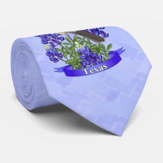 Texas State Mockingbird & Bluebonnet Flower Neck Tie