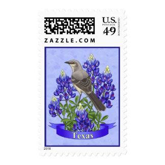 Texas State Mockingbird & Bluebonnet Flower Postage