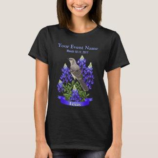 Texas State Mockingbird & Bluebonnet Flower T-Shirt