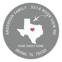 TEXAS State | New Home Address Label Sticker