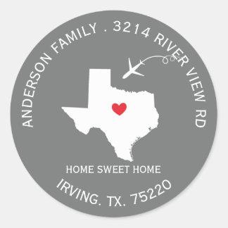 TEXAS State   New Home Address Label Sticker