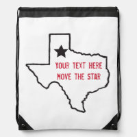 Texas State Outline Drawstring Bag