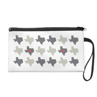 Texas State Pattern Wristlet Bag- Neutral and Red
