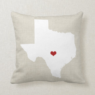 Texas State Pillow Faux Linen Personalized Heart