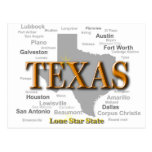 Texas State Pride Map Silhouette Postcards