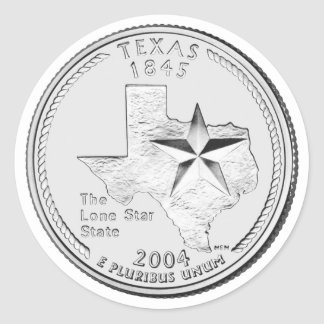 Texas State Quarter Classic Round Sticker