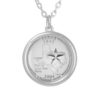 Texas State Quarter Silver Plated Necklace