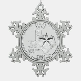 Texas State Quarter Snowflake Pewter Christmas Ornament