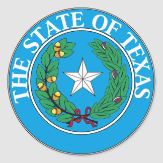 Texas State Seal and Motto Classic Round Sticker