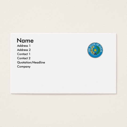 Texas State Seal Business Card