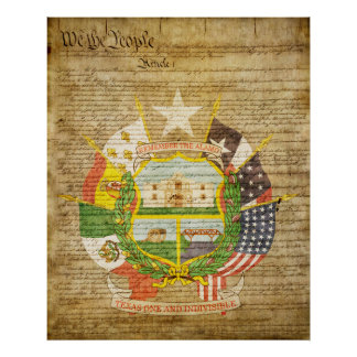 Texas State Seal Reverse Poster