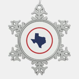 Texas State Snowflake Pewter Christmas Ornament