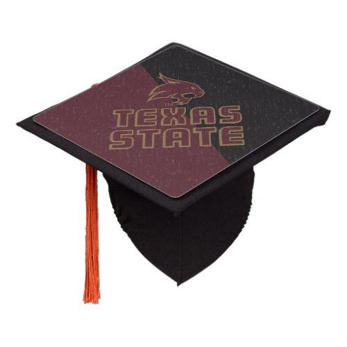 Texas State Supercat Color Block Distressed Graduation Cap Topper