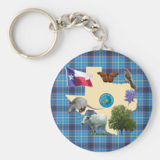 Texas State Symbols Basic Round Button Keychain