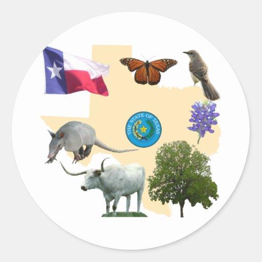 Texas State Symbols Classic Round Sticker