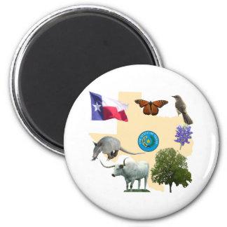 Texas State Symbols 2 Inch Round Magnet
