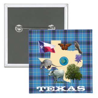 Texas State Symbols Pinback Button