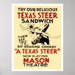 Texas Steer Sandwich 1938 WPA Poster