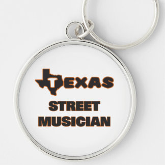 Texas Street Musician Silver-Colored Round Keychain