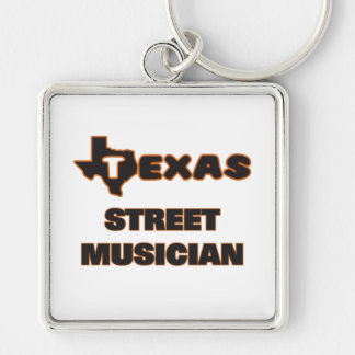 Texas Street Musician Silver-Colored Square Keychain
