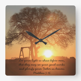 Texas Sunrise, Scripture Quote from Matthew 5:16 Square Wall Clock