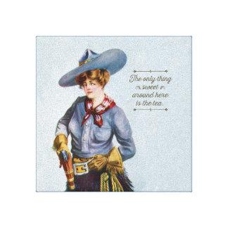 Texas Sweet Tea Vintage Cowgirl Canvas Art
