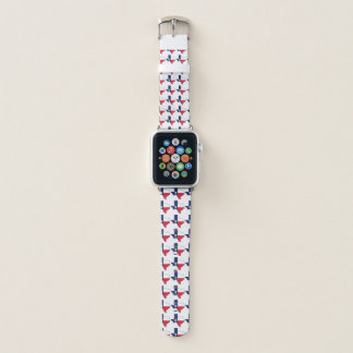 Texas Texan Pattern Red Blue Apple Watch Band