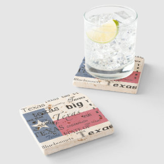 Texas Text Design-with Texas Flag Stone Coaster