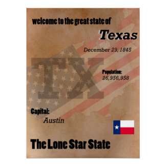 Texas The Lone Star State Classic Poster