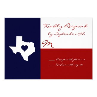 Texas Themed Red White Blue Wedding RSVP Cards